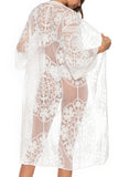 3/4 Sleeve Floral Lace Mesh Sheer Kimono Cover Up White