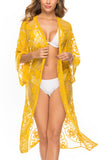 3/4 Sleeve Sheer Mesh Floral Lace Kimono Cover Up Yellow