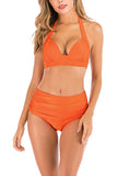 Self Tie Halter Plain High Waisted Ruched Plain Bikini Set Orange
