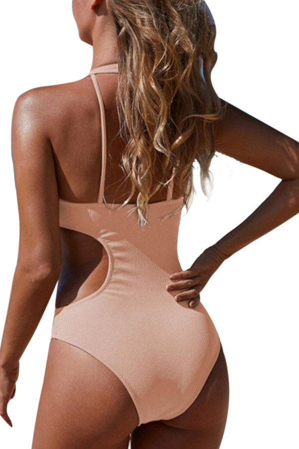 Solid Frilled Cut Out Ribbed One-Piece Swimwear