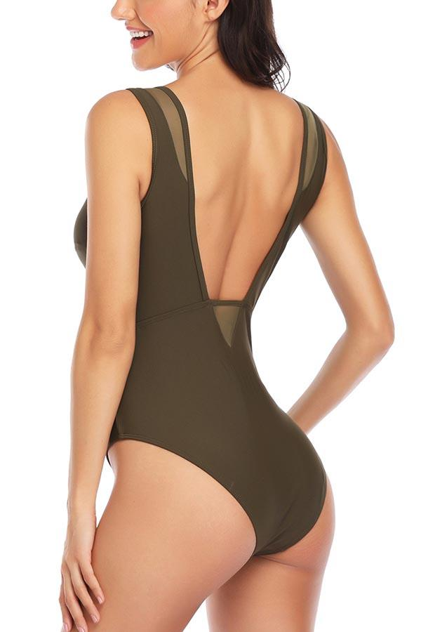 Women's Solid Mesh Sheer Backless One Piece Swimsuit