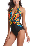 Deep V Neck Halter Floral Print One Piece Swimsuit Yellow