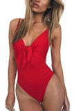 V Neck Knot Pleated High Cut One Piece Swimwear Red