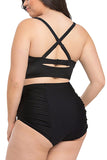 Plus Size Women's Plain Ruched High Waisted Bikini Set Black