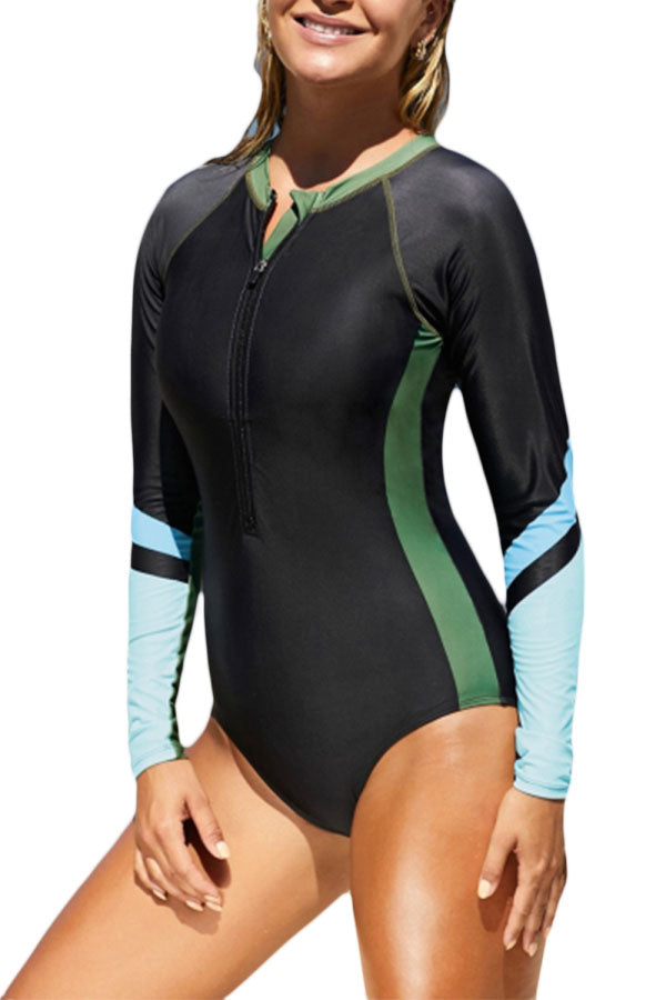 Long Sleeve Color Block Zip Up Rashguard Swimsuit