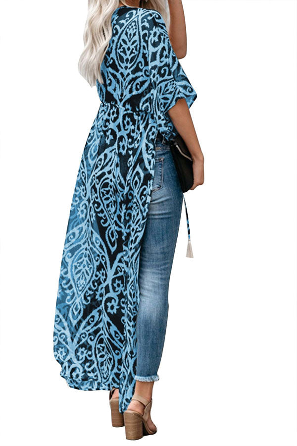 Floral Print Open Front Half Sleeve Duster Kimono With Tie Blue