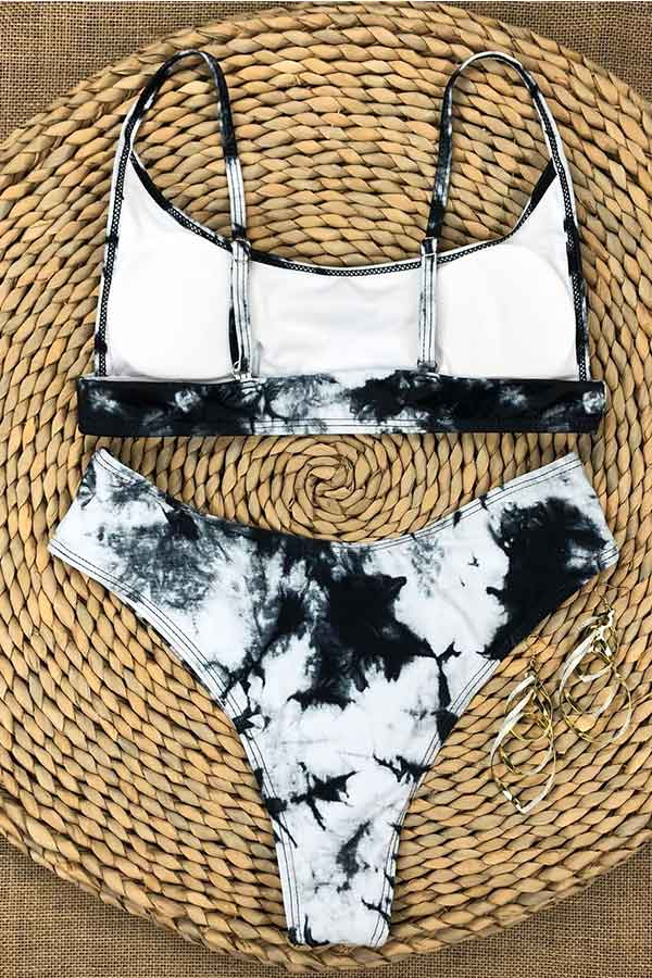 Scoop Neck Marble Pattern Bikini Set