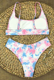 Tie Dye Scoop Neck Sports Bikini Set Baby Pink