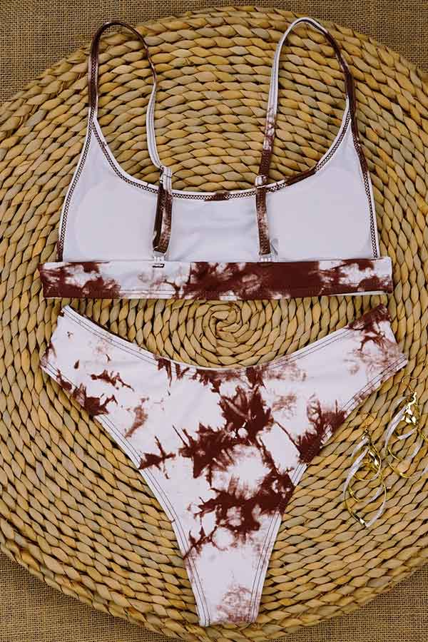Tie Dye High Cut Bikini Set Brown