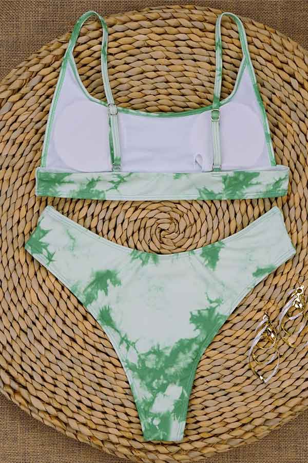 Spaghetti Straps Tie Dye High Cut Bikini Set Green