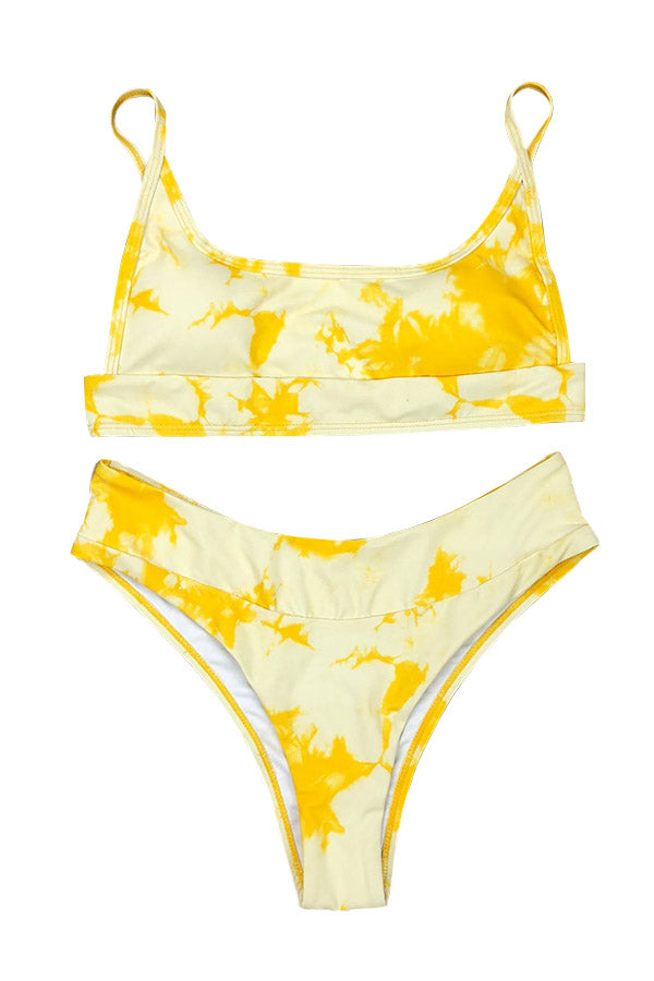 Scoop Neck Tie Dye High Cut Bikini Set Yellow