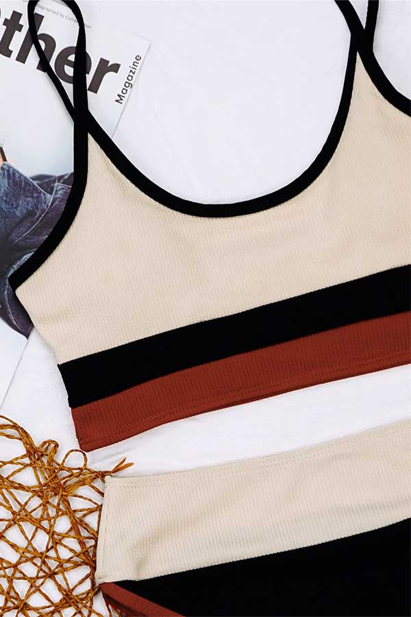 Women's Spaghetti Straps Color Block High Waisted Bikini Swimwear Apricot