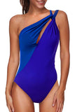 Solid Cut Out One Shoulder One Piece Swimsuit Sapphire Blue