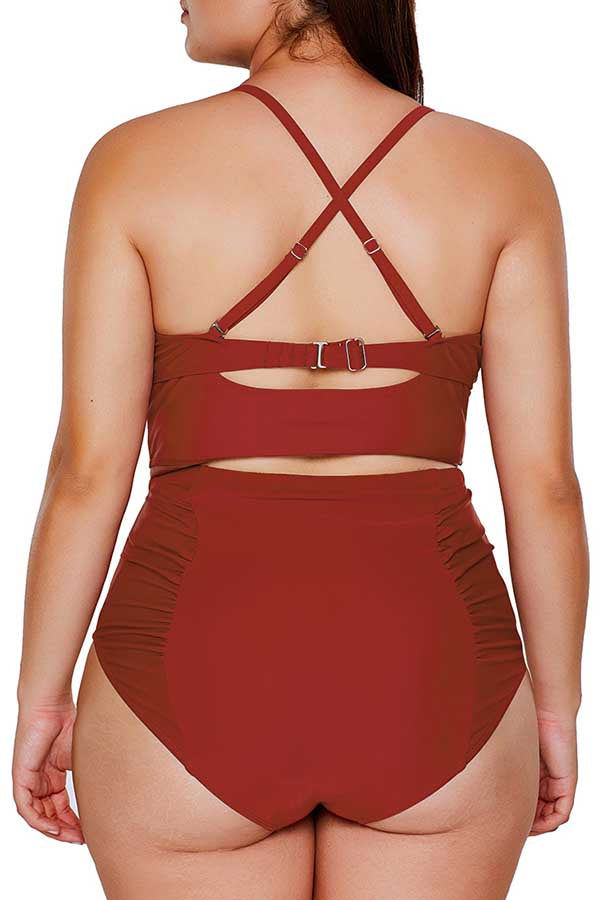 Plus Size Criss Cross Ruched High Waisted Bikini Set Red