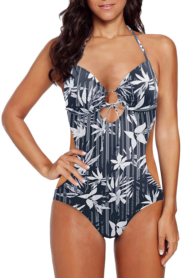 Lace Up Floral Print Halter Monokini Bathing Suit