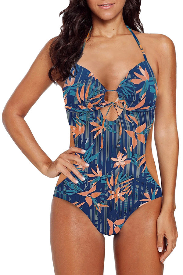 Floral Print Sweetheart Halter Monokini Swimsuit Navy Blue