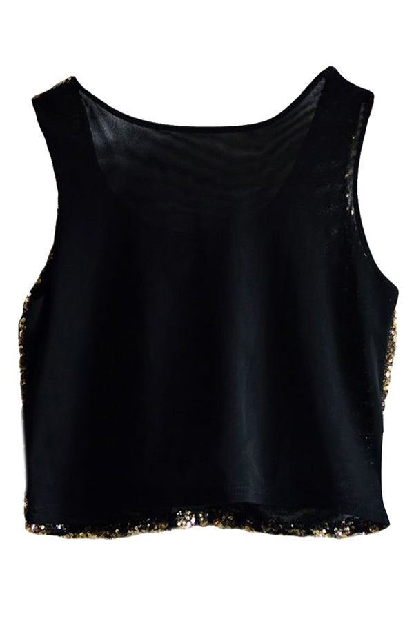 Gold Womens Fancy Stripe Sequins Tank Crop Top