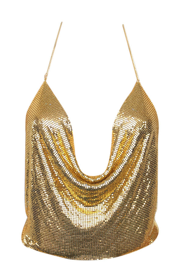 Womens Chain Halter Plunging Neck Backless Sequined Crop Top Gold