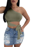 One Shoulder Sleeveless Cut Out Waist Tie Plain Crop Top Green