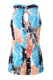 Sleeveless Keyhole Leaf Print Ruffle Halter Top Blue