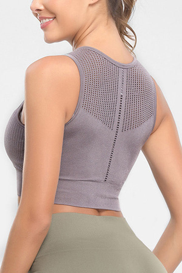 Solid Breathable Sleeveless Yoga Sports Bra For Women