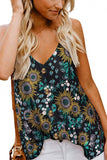 V Neck Spaghetti Straps Print Button Summer Cami Top Blue