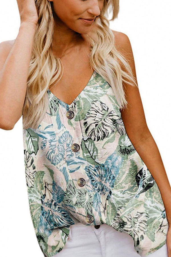 Summer Sleeveless Print V Neck Button Cami Top Light Green