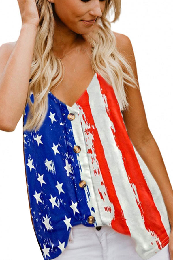 V Neck US Flag V Neck Sleeveless Button Cami Top Sapphire Blue
