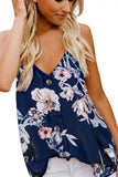 Summer V Neck Button Down Floral Print Cami Top Navy Blue