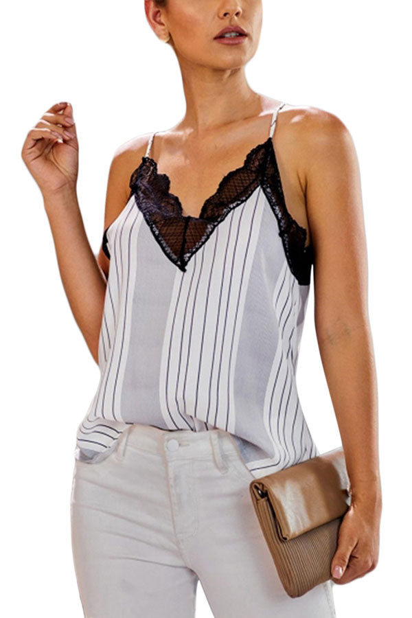 Summer Casual Deep V Neck Lace Trim Striped Cami Top