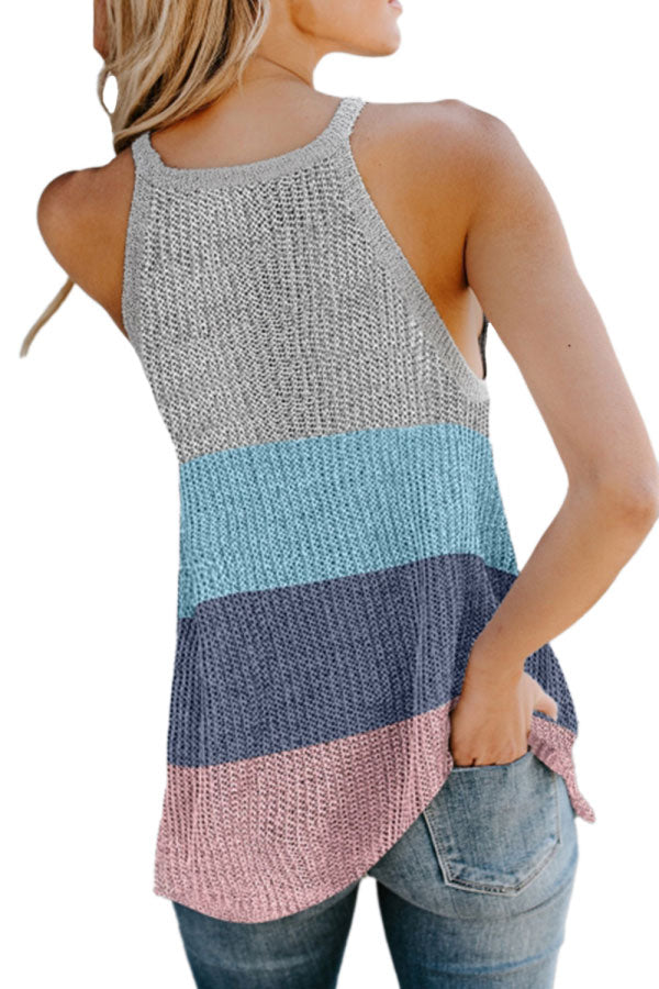 High Neck Color Block Knit Tank Top Light Grey