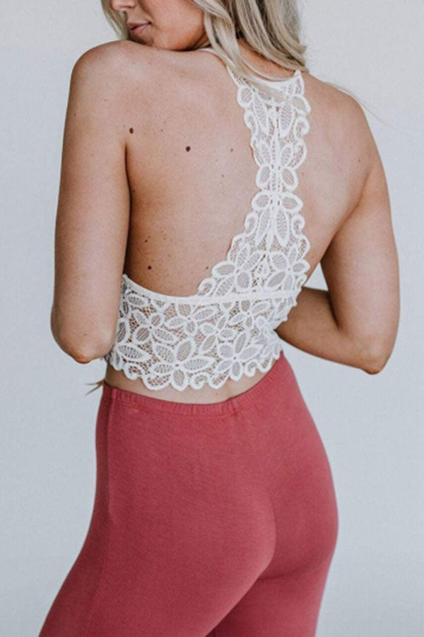 Women's Sexy Crochet Lace Plain Bralette Crop Top White