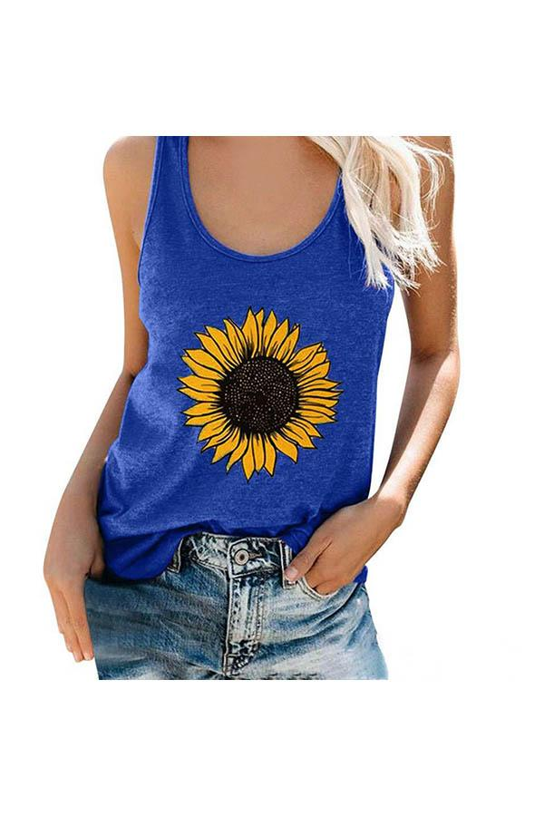 Scoop Neck Sleeveless Flower Print Casual Tank Top