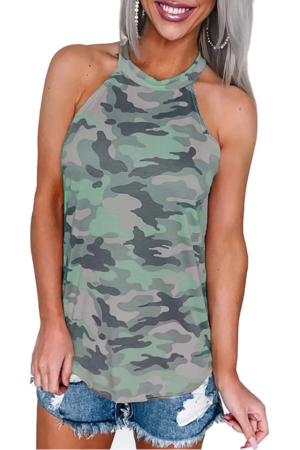 Halter Camo Tank Top Olive