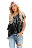 One Shoulder Sequin Glitter Plain Loose T-Shirt Black