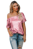 One Shoulder Sequin Glitter Plain Loose T-Shirt Pink