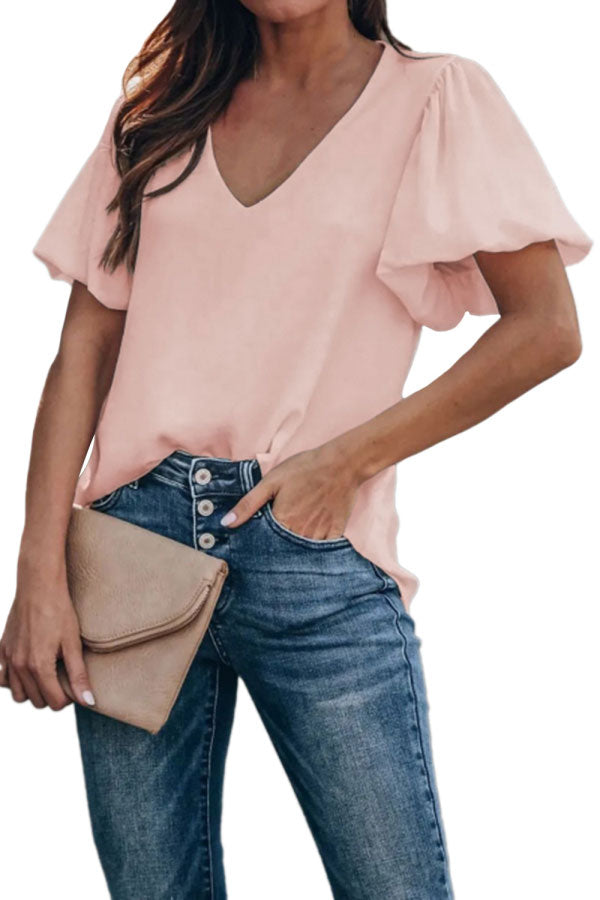 Solid Casual Deep Neck Short Lantern Sleeve Blouse Pink