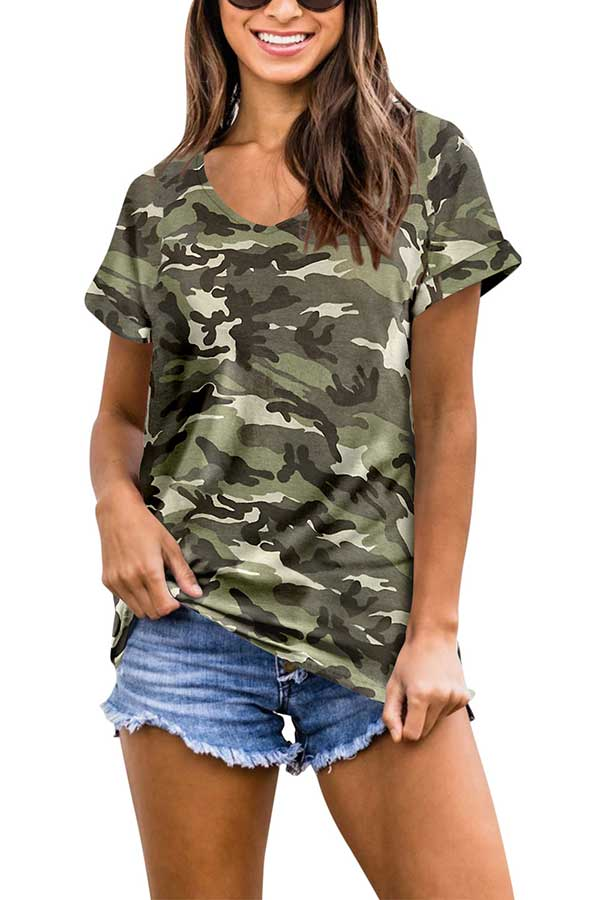 Summer Short Sleeve V Neck Camo Print T-Shirt