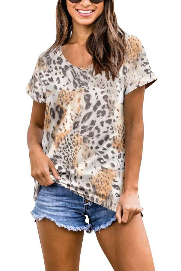 V Neck Short Sleeve Leopard Print Summer T-Shirt Brown
