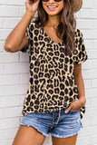 Summer Casual V Neck T-Shirt For Women Coffee