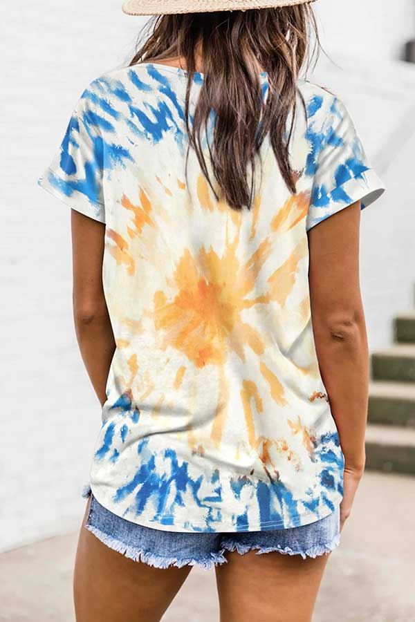 Short Sleeve Good Vibes Print Tie Dye T-Shirt Ginger