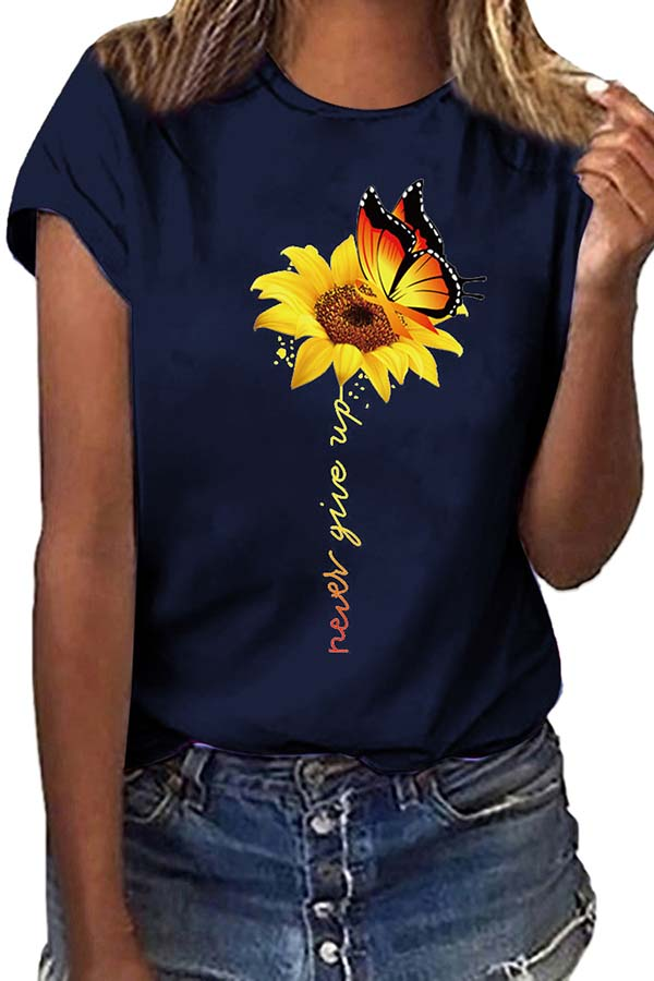 Women's Casual Summer Flower Print T-Shirt Navy Blue