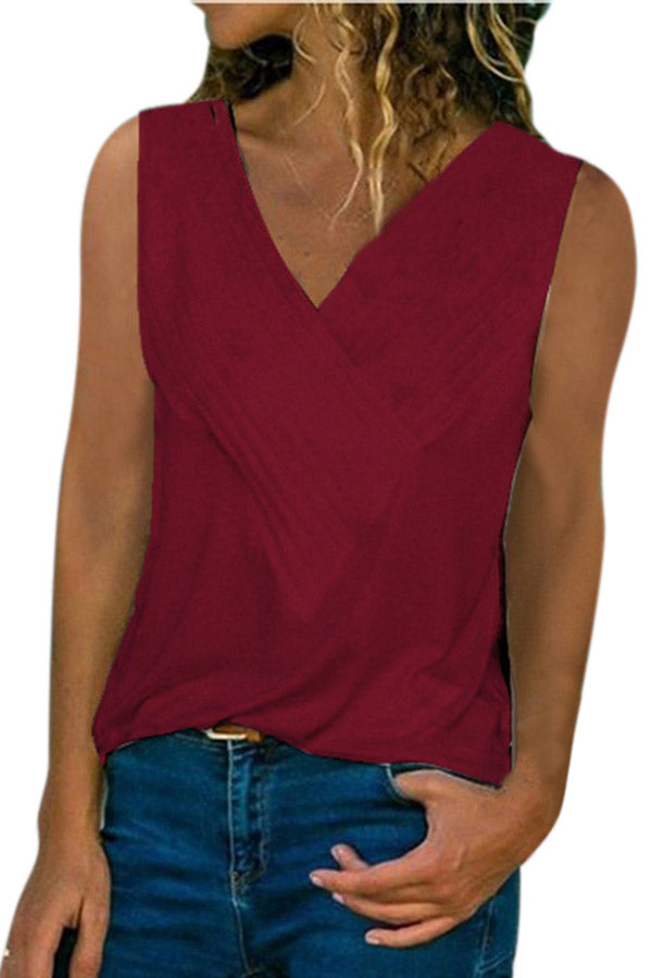 Deep V Neck Solid Sleeveless Striped Plus Size Tank Top Ruby