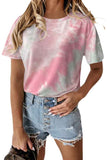 Plus Size Women's Round Neck Short Sleeve Tie Dye T-Shirt Pink