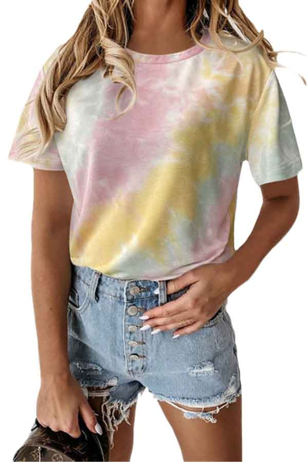 Plus Size Women's Casual Summer Short Sleeve Crew Neck Tie Dye T-Shirt