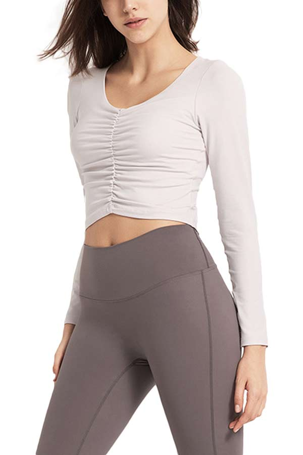 Women's Fitted Casual Ruched Long Sleeve Solid Crop Top