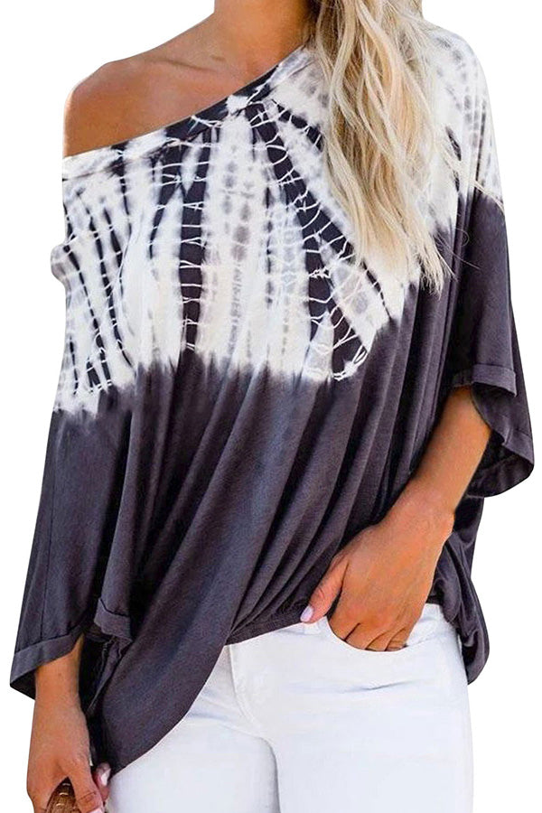 Casual Tie Dye Long Batwing Sleeve One Shoulder Blouse Blue
