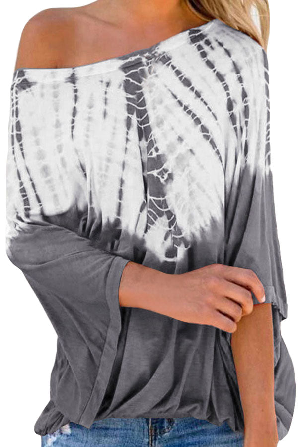 One Shoulder Batwing Long Sleeve Tie Dye Casual Blouse Light Grey