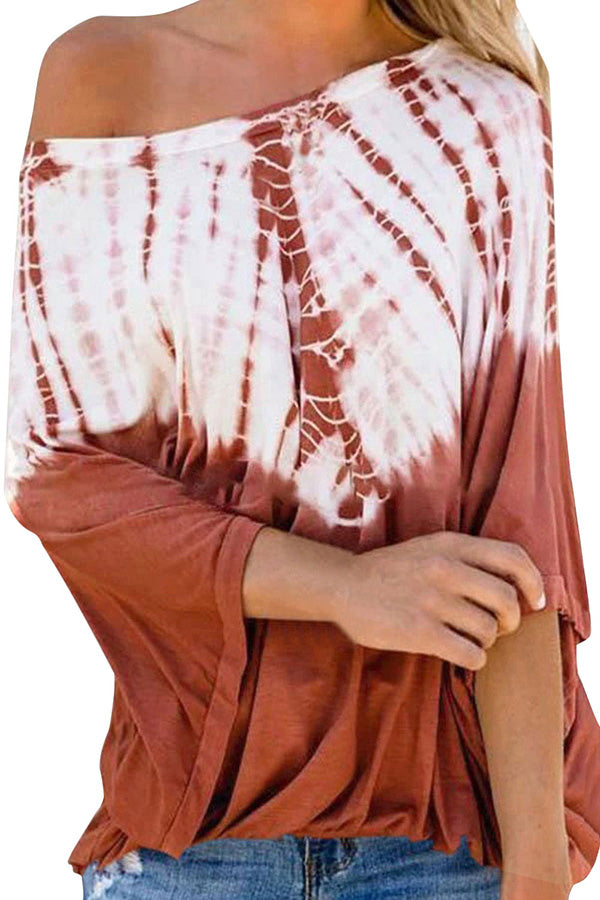 Batwing Long Sleeve One Shoulder Tie Dye Blouse Tangerine
