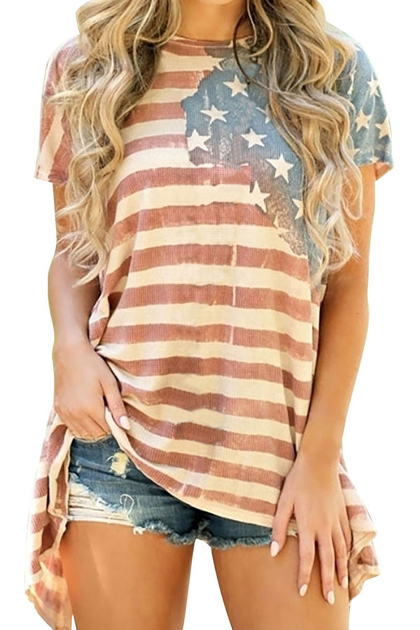 Summer Crew Neck Short Sleeve US Flag Print Blouse Red